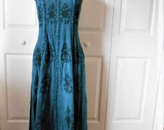 Vintage 90's dusty indigo India Halter maxi Dress