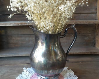 Vintage SILVER Water PITCHER, Silver Plated Pitcher, Silver Flower Vase, Farmhouse Decor, Cottage Style
