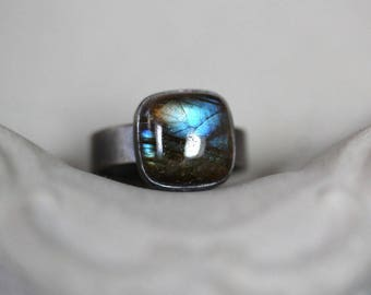 Labradorite Ring, Blue Flash Labradorite Oxidized Recycled Argentium Sterling Silver Ring - US Size 7