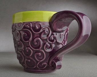 Curly Mug Ready To Ship Purple and Green Slip Trailed Mug by Symmetrical Pottery