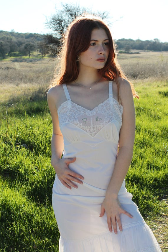 MEADOW Vintage Slip Dress 1940's Intimates White Lace Nylon Slip Dress Undergarment Layering Size 34