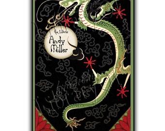 Oriental Dragon - Vintage Art - Adhesive Bookplate - Asian Art - Green Dragon