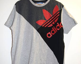 """Vintage geometric red Adidas t shirt 44"""" // tee The brand with 3 stripes Retro 80s 90s sports luxe"""