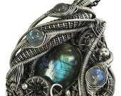 Labradorite Wire-Wrapped Steampunk Pendant in Antiqued Sterling Silver with Watch Gears