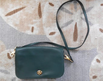 Vintage 1980s DEADSTOCK green leather & suede crossbody