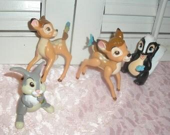 Disney Bambie,Feline,Thumper,and Flower Figurines