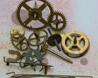 Large Size Clock Gears and Parts Vintage Ephemera