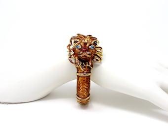 Kenneth Jay Lane KJL Enamel Lion Hinged Bangle Bracelet