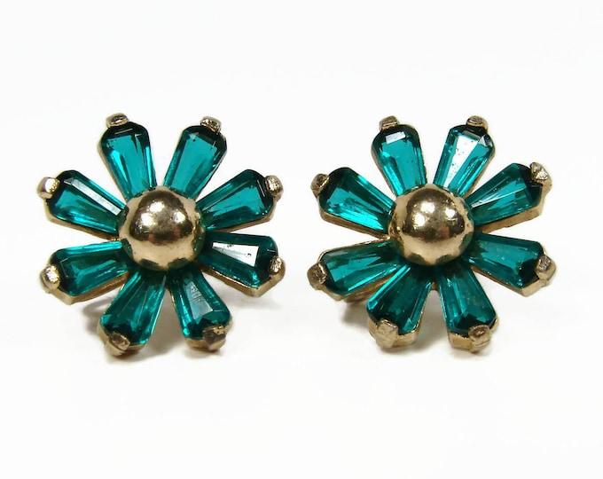 1940s Green Rhinestone Flower Screwback Earrings