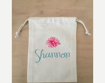 Hangover Kit Bag, Bachelorette Party,  Hangover Kit, Drawstring Favor Bags, Personalized FREE, Flower with Name