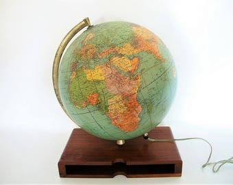 Vintage World Globe Mid Century Weber Costello Illuminated c 1957