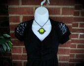 Victorian Necklace, Handmade Glass Opalite Color-Shift Yellow, Filigree Art Nouveau Pendant, Renaissance Necklace