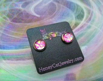 """Glass Opalite Earrings, Iridescent Pink Glass Opal Gunmetal Stud Earrings 10mm / 0.39"""""""