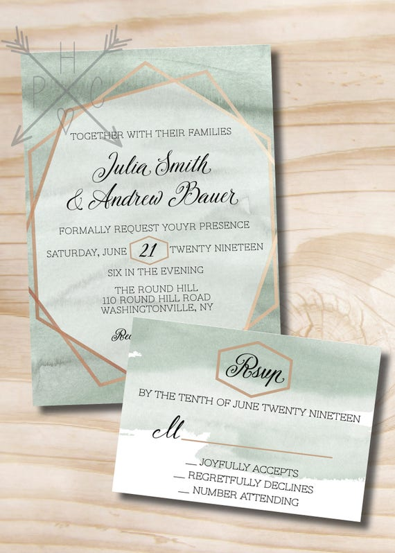 Watercolor and foil wedding invitation response card invitation il570xn stopboris Choice Image