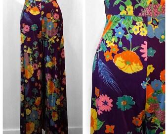 1970s Vintage Hippie Festival Wide Leg Floral Purple High Waist Palazzo Pants