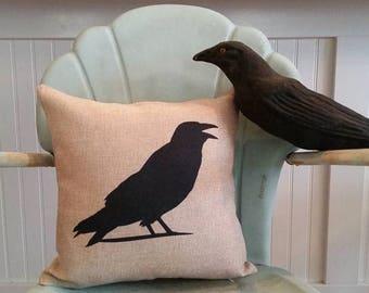 Crow pillow, Blackbird pillow, Decorative seasonal pillow, Fall pillow, Crow Silhouette