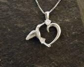 14K White Gold and Diamond Hummingbird Heart Pendant on a 14K White Gold Chain