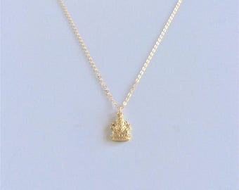 Gold Ganesha Necklace, Gold Ganesh Necklace, Tiny Gold Ganesha Necklace, Yoga and Spirituality Jewelry - Indira Boheme