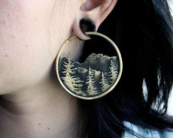 Layered Forest and Mountain Range 10 Gauge Hoop Earrings Hoops for Plugs Hoops for Eyelets Forest Nature Handmade Jewelry Free Shipping Tree