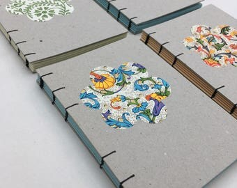 Recycled coptic notebook, florentine flower notebook, A6 plain journal, coloured pages, simple, minimalist, zerowaste
