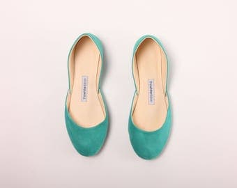 The Suede Ballet Flats | Leather Ballet Flats in Tiffany Green | Pointe Shoes in Sea Green ... Made to Order