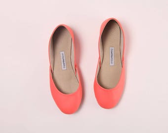 Handmade Leather Ballet Flats | Pop Coral | Ballet Flats | Ready to Ship