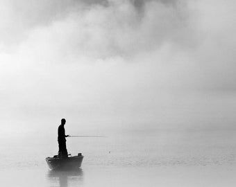 Black and white photography, fishing photography, fisherman, nautical photography, angler, fog, foggy, clouds, boats, The Abyss Fisher