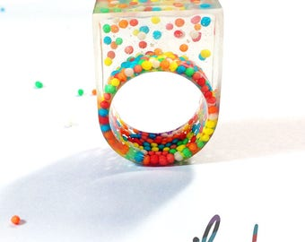Resin Candy Ring, Hand Made, Chunky Statement Ring, Candy Ring, Resin Ring, Multicolour ring, sprinkles, chunky ring, clear ring, multicolor