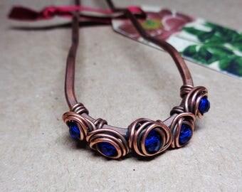 Copper Hair Fork Dark Blue Beads - Choose Size - Metal Hair Pin, Copper Comb, Hair Bun Holder, Barrette, Womens Accessories, Hair Jewelry