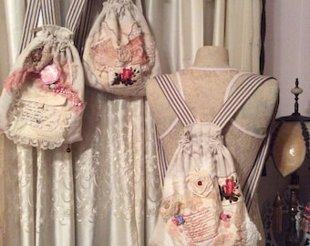 Burlap Linen Backpack #3, handmade French cottage shabby farmhouse, real soft vintage fabric, shabby chic cottage garden bag