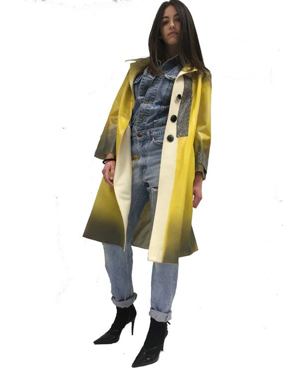 Yellow Spring Coat Overcoat Airbrush Hand Painted Skin Effect LOLA DARLING Seventy Vintage Garment Square Glossy Recycled Fabric