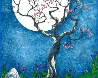 Full Moon Hare Handmade Art Card, Archival 5 x 7 Blank Greeting Card