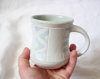 Little White Mug with Blue Stripes