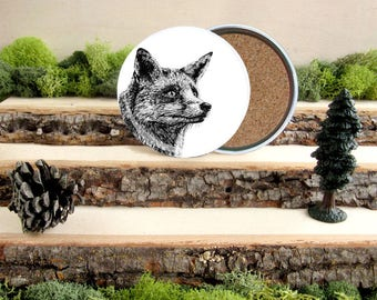 Red Fox Coaster Set - Home Decor - Gift for Animal Lover or Outdoorsman Guy Gift - Cork-Bottom Coaster Set