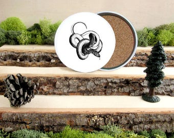 Snake Coaster Set - Home Decor - Gift for Animal Lover or Outdoorsman Guy Gift - Cork-Bottom Coaster Set