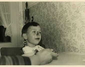 "Vintage Photo ""Blueberry Nose"" Snapshot Antique Black & White Photograph Found Paper Ephemera Vernacular Interior Design Mood - 21"