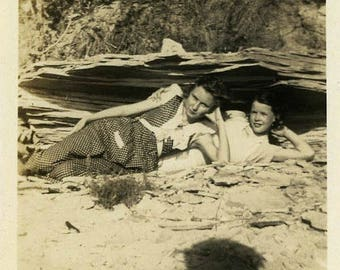 "Vintage Photo ""The Driftwood Divas"" Snapshot Antique Black & White Photograph Paper Found Ephemera Vernacular Interior Design Mood - 13"