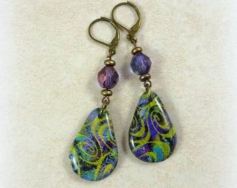 Colorful Artisan Clay Charm Earrings - Lightweight Earrings, Purple Earrings, Purple and Green Earrings, Glittery Earrings, Teardrops