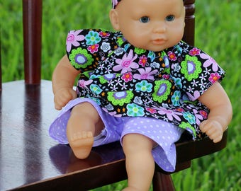 12 inch Corolle Doll Clothes, 12 inch Huggums Doll Clothes, Doll Top and Shorts,  Pink Floral Top and Lavender Polk-a-Dot Shorts