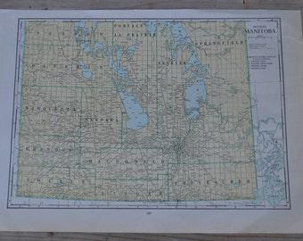 Southern Manitoba Winnipeg Canada Vintage Map Print