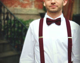 Burgundy Wine Bow Tie, Suspenders or Set for Adults & Children, Made in the USA, Use Code TENOFF5 at checkout for 10% off 5 or more!