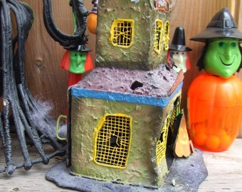 Vintage Saloon Candle Holder made of Tin. Halloween Saloon with Pumpkins and Bats.