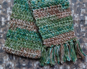 Green and Brown Multicolor Handmade Crochet Scarf by Pepperland