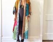 Vintage Sacred Threads Silk Patchwork Duster , Layering Jacket , BOHO Kimono ,Silk Kimono