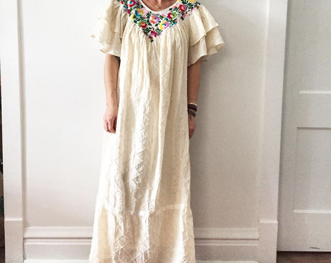 Featured listing image: Vintage Embroidered Mexican Kaftan, Oaxaca Kaftan , Mexica Mexican Maxi Dress