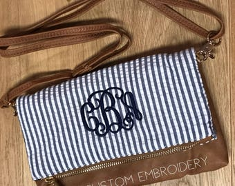 Personalized Monogrammed Seersucker Crossbody Purse/Clutch