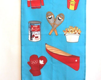 Blue Tea Towel: Canadian themed cotton Linnen -Kitchen towel -Dishcloth