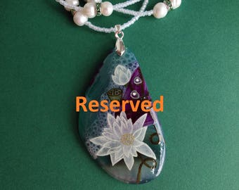 Reserved for birtasophia  FREE SHIPPING Hand painted stone   Pendant water lily 2