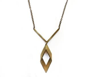 Rhombus Necklace - Geometric Necklace, Sacred Geometry, Modern Jewelry, Minimal Necklace, Art Deco, Statement Necklace, Layering Necklace