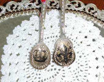 Two Vintage spoon ornaments , R hinestone ornament, Shabby chic spoon ornament,Silver spoon ornament,